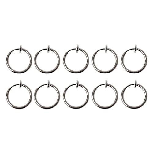 Yushu - 10 clips de oreja de primavera, plata sin agujero de oreja, clip de bricolaje en aretes de aro de círculo, para hacer joyas, pendientes falsos, anillos de aro de resorte no perforados