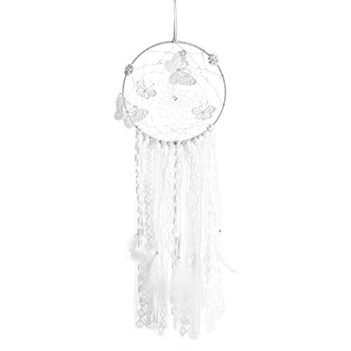 N/F Led Light White Butterfly Dreamcatcher Wind Chime Feather Pendant Wall Hanging Tent Room Decoration
