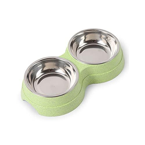 NHDY Cuenco de Alimentos for Perros de Mascotas,tazón de Perro de Acero Inoxidable for Perros pequeños/medianos/Grandes,Mascotas alimentador y tazón de Agua (Verde) 1002