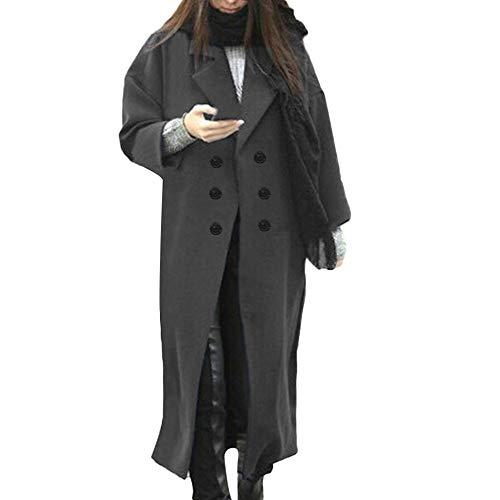 PLOT Damen Mantel Lang Einfarbig Oversized Trenchcoat Windbreaker Cardigan Frauen Herbst Winter Casual Warm Wollmantel Wolljacke Wintermantel Doppelten Breasted