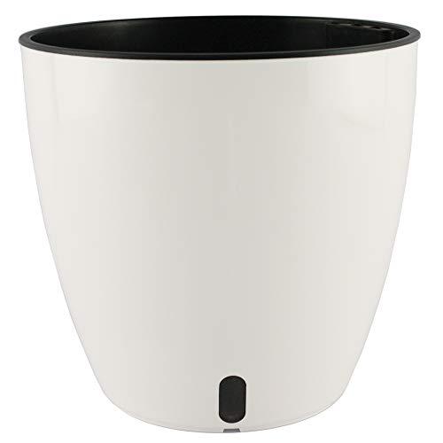 Smart Garden Maceta autorregable AQ1817 Decorativa Redonda Centro de Mesa - Pequeña Moderna Interior - Autorriego Inteligente - Plástico ABS Anti UV (18cm de diámetro x 17cm de Alto) (1, Blanco Mate)