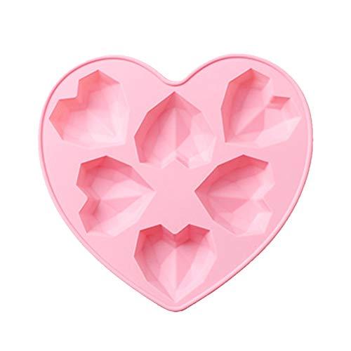 3D Liebesherz Diamantförmige Form Silikon Backformen, 3D Diamant Herz Silikonform, 6 Herzchen Schokoladenformen, Kuchen Form Herzbackform Kuchenform Herz für Kuchen, Muffincups, Schokolade (A)
