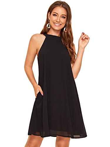 Floerns Women's Summer Chiffon Sleeveless Halter Neck Shift Dresses