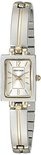 Armitron Women's 75/5331SVTT Rectangular Shaped Two-Tone Bangle Watch