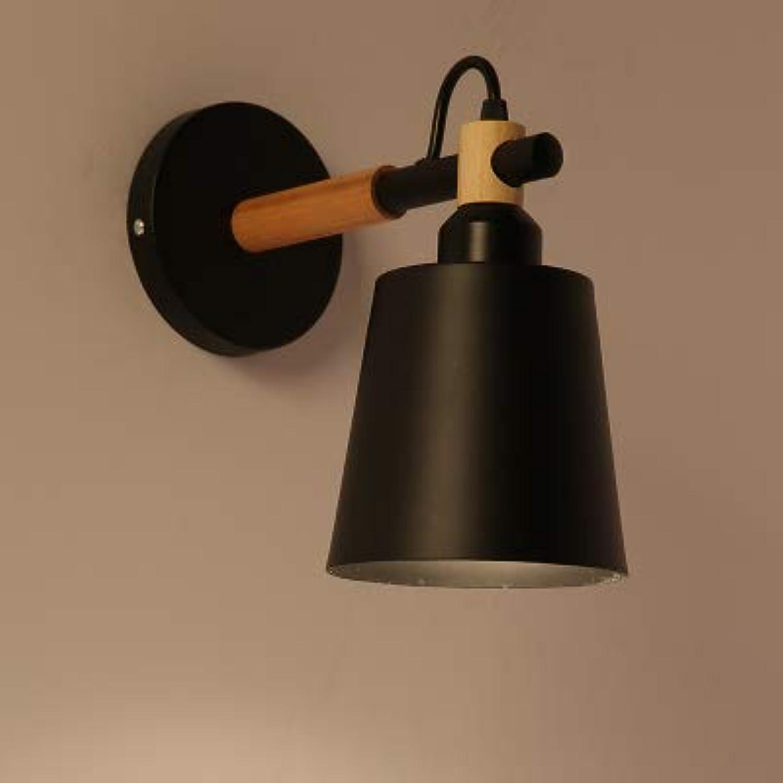 Einfache kreative Wandlampe führte Schlafzimmerbettdekorationswohnzimmerkorridor-Hotelwandbefestigung, Schwarzes mit Birne E27, warmes Licht