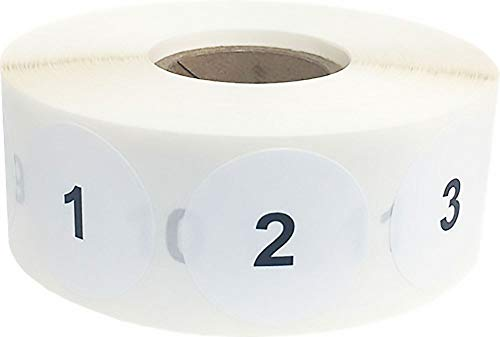 Consecutive Number Labels 1-1000 1 Inch Number Stickers for Inventory 1,000 Stickers On A Roll