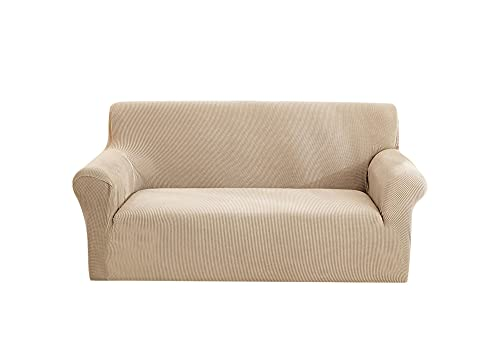 OYZK Elastische Sofa-Abdeckung, Baumwolle All-Inclusive Couch Cover für Wohnzimmer 1/2/3/4 Sitzer Stretch Slipcover L Form Ecksofa (Color : Cream, Specification : 1 Seater 90 140cm)