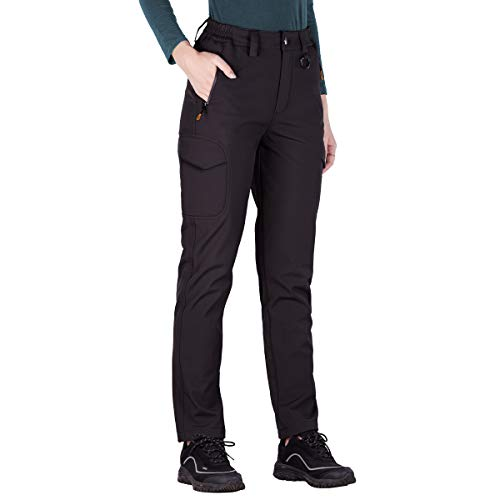 FREE SOLDIER Women's Outdoor Water Resistant Fleece Lined Softshell Pants Windproof Breathable Lightweight Hiking Cargo Pants (Black Small/US 4-6)