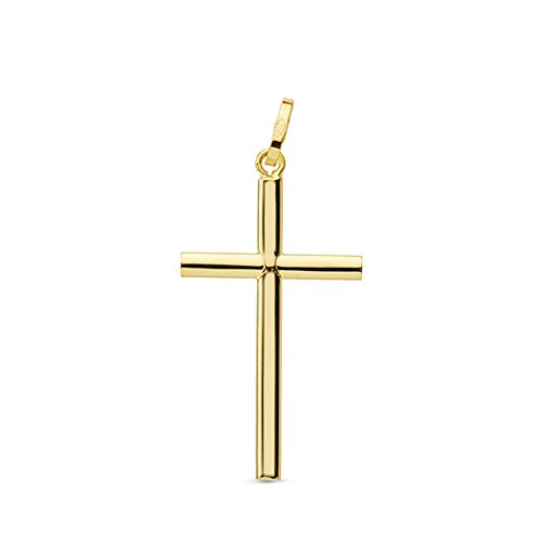 Cruz lisa 24mm Oro Amarillo 18K Colgante Comunión