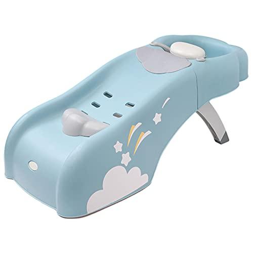HXBH Silla de champú para niños plegable reclinable grande para champú, ajustable en varias etapas, silla de champú para bebé cómoda con soporte de peso de 50 kg/azul