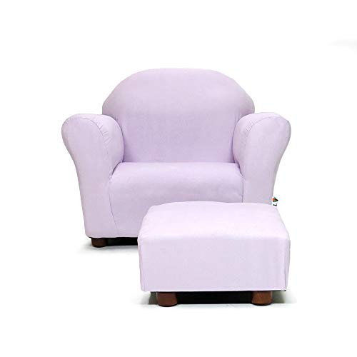 KEET Roundy Child Size Chair with Microsuede Ottoman, Lavender, Ages 2-5 years