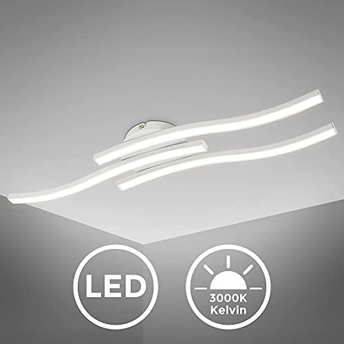 B.K.Licht I 3-flammige LED Deckenleuchte I 3.000K Warmweiß I 3x 6 Watt I 3x 480 Lumen I geschwungende Deckenlampe I Länge: 565 mm I Weiß