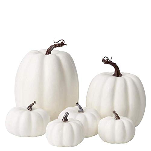 6/12PC Artificial Pumpkins Decoration Fall White Pumpkins Fake Pumpkin Decor Mini Pumpkins Foam Pumpkins Small Pumpkins Lifelike Vegetables Props for Fall,Thanksgiving,Halloween, Christmas (A(6 PC))