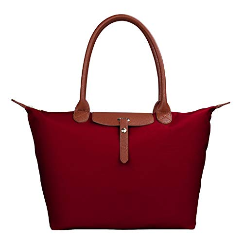 Women's Stylish Waterproof Tote Bag Nylon Travel Shoulder Beach Bags-Burgundy Color - Large Size