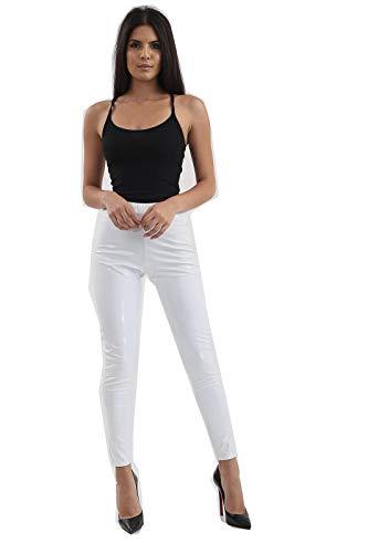 TRENDS - Mallas de Piel sintética para Mujer (PVC, Alto Brillo) Blanco...