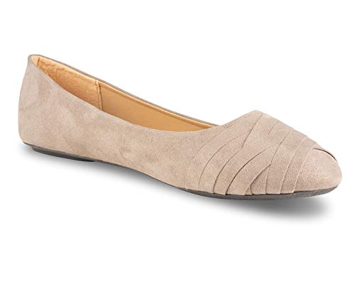Twisted Sara Womens Flats, Ladies Micro Suede Ballet Shoes with Comfort Insole, Wrap Pattern Toe, Taupe, 11