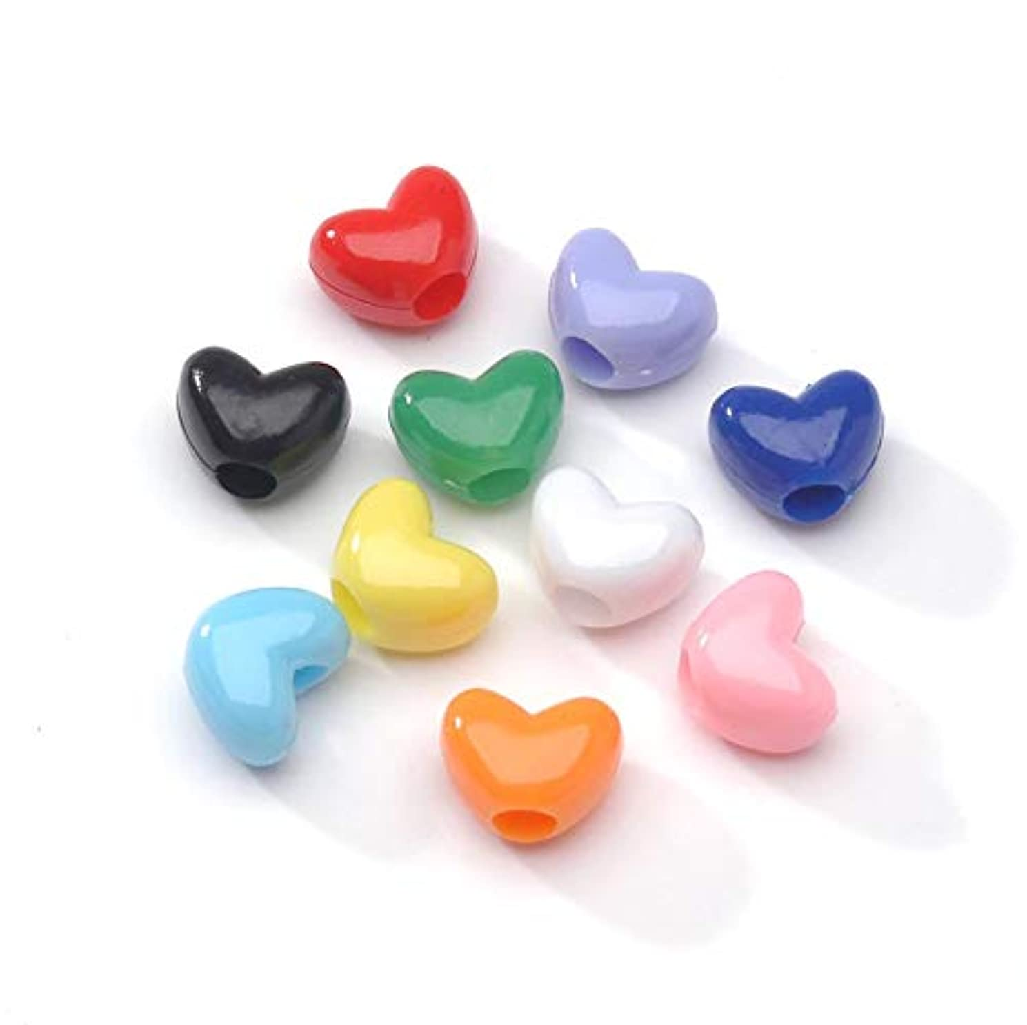 Pony Beads 0601-33 Bead Pony Hearts Opaque Multi Color 9mm Big Value (200 Pack), Multicolor