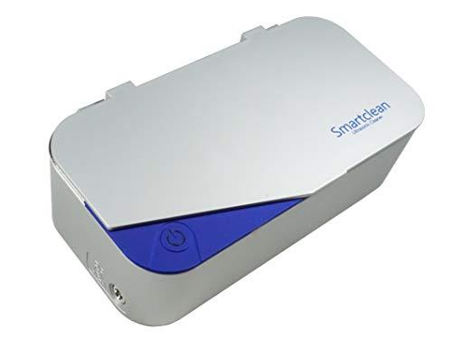 Smartclean 超音波洗浄機 家庭用 幅広メガネに対応 角型タイプ スマートなコンパクト設計 (シルバー ブルー)