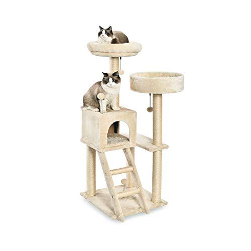 Amazon Basics - Albero per gatti con doppia piattaforma e cuccia, grande, 48,2 x 127 x 48,2 cm, beige