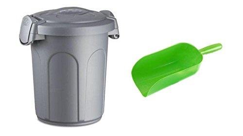 Cajou Futtereimer mit Deckel und Futterschaufel für Trockenfutter oder Pellets (46 Liter - 16 kg)