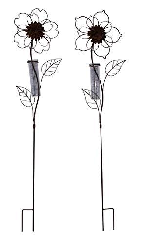 ARTECSIS 2er Set Gartenstecker Regenmesser Blume aus Metall Edelrost für Balkon, Garten, Terrasse