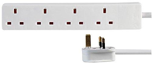 pro elec Cable alargador Delgado de 4 Bandas, 10 m, Color Blanco