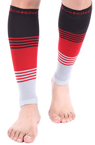 Doc Miller Premium Calf Compression Sleeve DRESS SERIES 1 Pair 20-30mmHg Strong Calf Support Graduated Pressure Sports Running Recovery Shin Splints Varicose Veins (BlackRedGray, Medium)