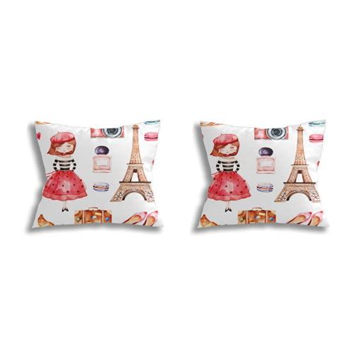 Throw Pillow Covers decoración de la habitación (Juego de 2 Piezas), Lovely Summer Collection with Eiffel Tower Camera Croissant Shoes Macaroons Baguette Perfume Young g,Juego de Funda de cojín para