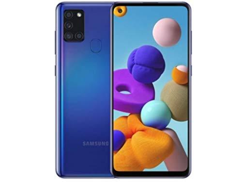 Samsung Galaxy A21s Smartphone, Display 6.5' HD+, 4 Fotocamere Posteriori, 128 GB Espandibili, RAM 4 GB, Batteria 5000 mAh, 4G, Dual Sim, Android 10, Blu