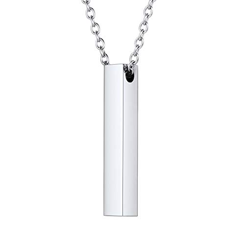 FOCALOOK Mens Necklace Pendant Stainless Steel Vertical Cube 3D Bar Necklace for Women Men