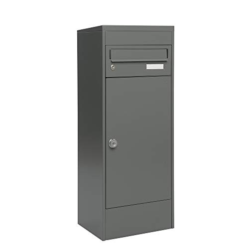 MEFA Paketbriefkasten Balsa 483 (Farbe basaltgrau, Postkasten mit Schloss, Größe 1032x410x310 mm) 483121M