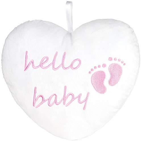 BRUBAKER de Felpa Hello Baby 25 CM - Regalo de Baby Shower - Almohada Corazón de Felpa - Decoración de la Habitación del Bebé - Cojines para Recién Nacidos - Bebé Niña Rosa