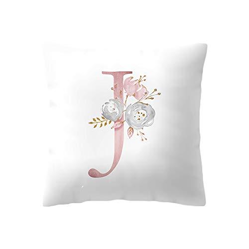 BIGBOBA Kreativ Brief Kissenbezug mit Blumenmuster Pillowcase Sofa Kissen Englisch Alphabet Kissenbezüge Dekorativer Kissenbezug 45cm*45cm (J)
