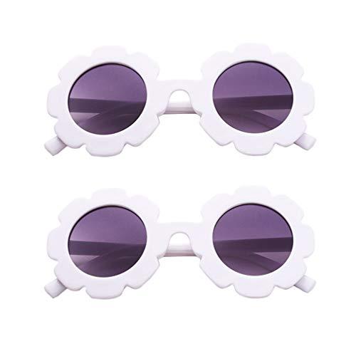 TENDYCOCO Gafas de Sol para Niñas Gafas de Protección Uv Gafas de Fiesta Lindas Gafas de Sol con Forma de Flor para Niños 2Pcs / Pack