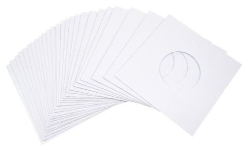 """1000 White 45 RPM 7"""" Paper Record Sleeves Acid Free Vinyl/Protectors - Heavy 20# Weight Paper with Hole for Viewing Label -"""
