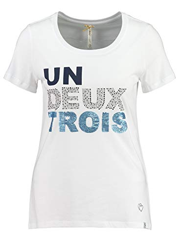 KEY LARGO Number Round Camiseta, Blanco y Azul, L para Mujer