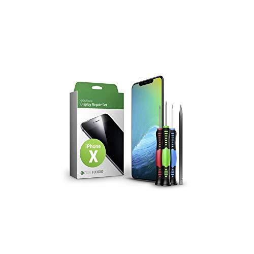 GIGA Fixxoo Display Set kompatibel mit iPhone X, Reparaturset Komplett Schwarz, Ersatz Bildschirm, Retina OLED Glas mit Touchscreen, Werkzeug