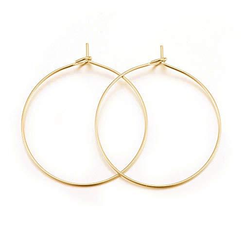 Cheriswelry Goldene Creolen, Edelstahl, Weinglas-Charm-Ringe, Perlenringe für Schmuckherstellung, 30 mm, 100 Stück