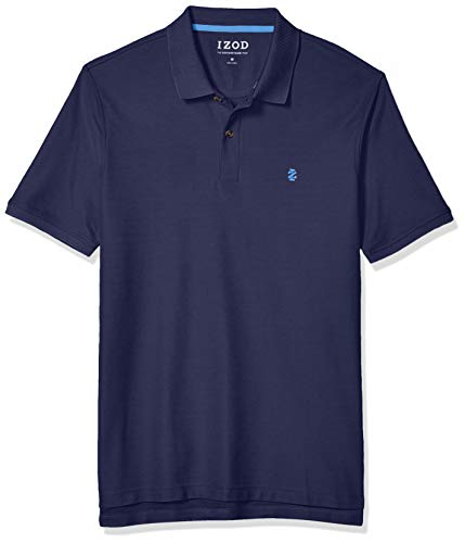 IZOD Men's Regular Fit Advantage Performance Short Sleeve Solid Polo, Peacoat, X-Large