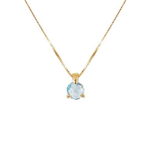 Collana Donna Oro Giallo vera–Ciondolo Topazio Blu