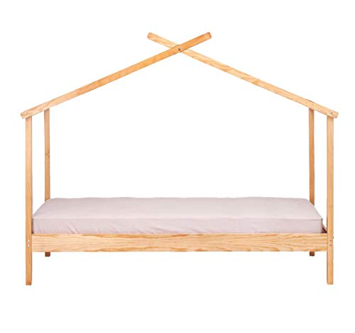 Meubletmoi Tom 0308 - Cama cabaña de pino macizo, 90 x 200 cm