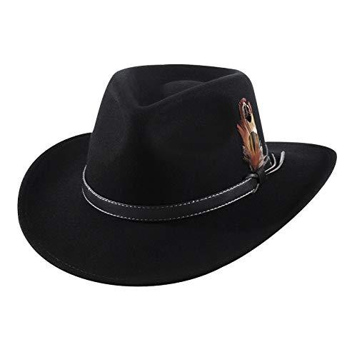Sombrero de Vaquero para Hombre Fieltro de Lana Western Outback Gambler ala Ancha Tamaños Ajustables Crushable Black PU Band M