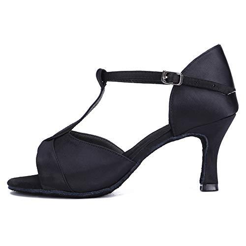 HIPPOSEUS Zapatos de Baile Latino con Correa en T para Mujer Zapatos de práctica de Baile de salón de satén,Negro,38 EU
