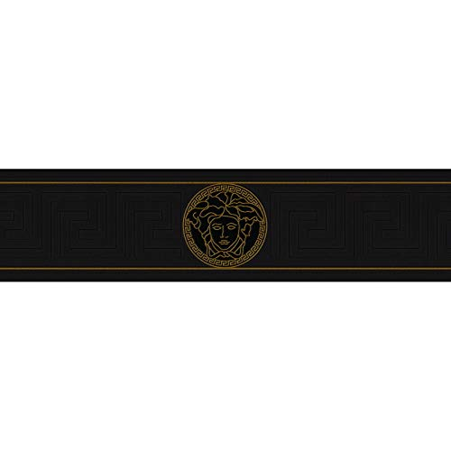 Cenefa estilo barroco barroco oro negro/antracita 935224 93522-4 Versace Versace 1 | oro/negro/antracita | Rollo (5,00 x 0,13 m) = 0,65 m²