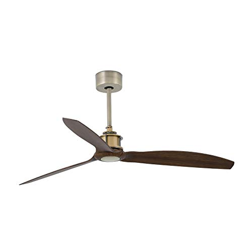 Faro Barcelona 33398WP- JUST FAN Ventilador de techo oro viejo/madera con motor DC SMART (Receptor Smart 34150 no incluido)