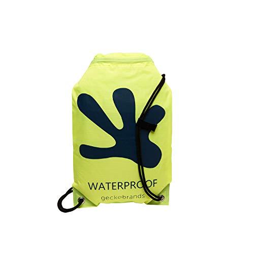 geckobrands Waterproof Drawstring Backpack – Lightweight Packable Cinch Dry Bag, Green/Navy