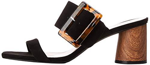 Marca Amazon - find. Large Buckle Block Heel Sandal - Sandalias con punta abierta Mujer