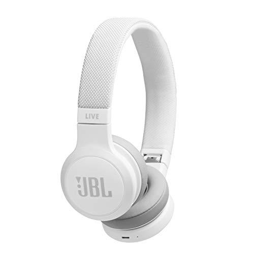 JBL LIVE 400BT - Auriculares Inalámbricos con Bluetooth, Asistente de voz integrado, Calidad de Sonido JBL y función TalkThru y AmbientAware, Hasta 30h de música, Color Blanco, con Alexa integrada