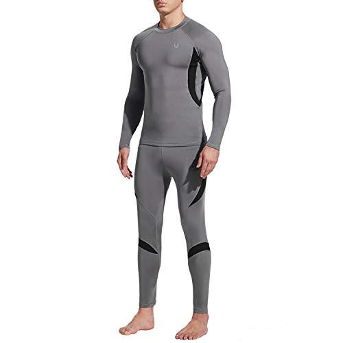 UNIQUEBELLA Thermounterwäsche Set, Funktionswäsche Herren Skiunterwäsche Winter Suit Ski Thermo-Unterwäsche Thermowäsche Unterhemd + Unterhose (Grau, S)