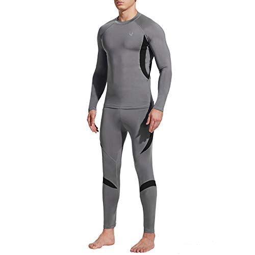 UNIQUEBELLA Thermounterwäsche Set, Funktionswäsche Herren Skiunterwäsche Winter Suit Ski Thermo-Unterwäsche Thermowäsche Unterhemd + Unterhose (Grau, XL)